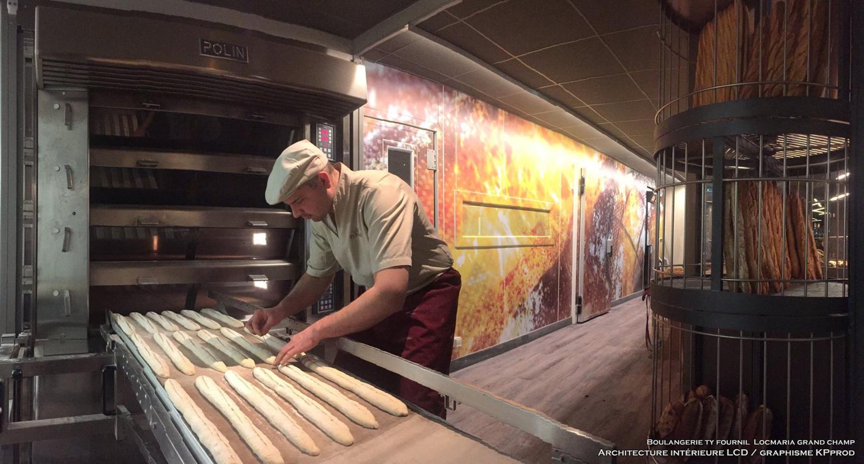 le boulanger au travail dans sa boulangerie design